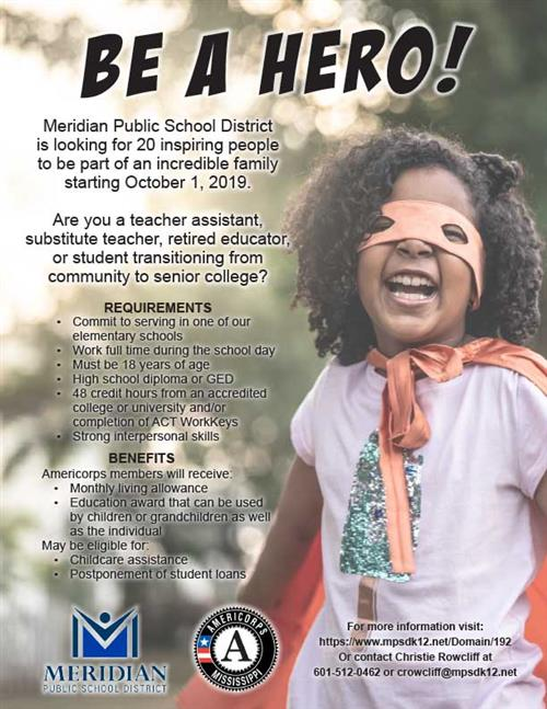 Be A Hero AmeriCorps Flyer