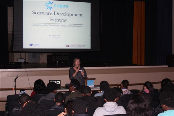 Photo of the C Spire event held at Meridian High School on Monday, February 25, 2019.