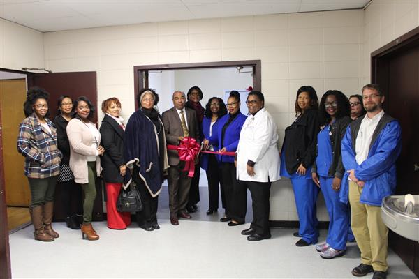Ribbon Cutting for school based clinic at Carver Middle School.