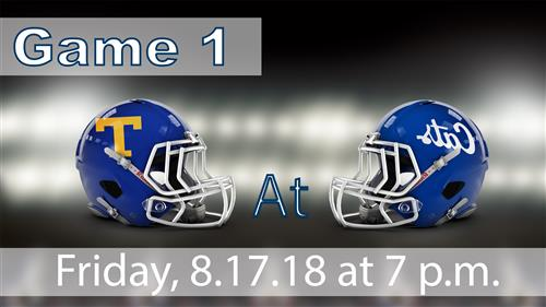 picture of tupelo and mhs football helmets game 1 and date/time