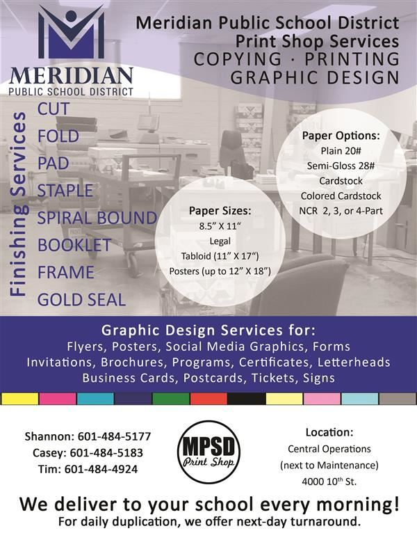 MPSD Print Shop Flyer with picture and a description of its services