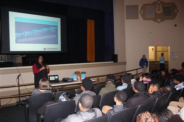 C Spire CIO,  Carla Lewis, talks to MHS 9th-11th graders on Monday, February 25, 2019.