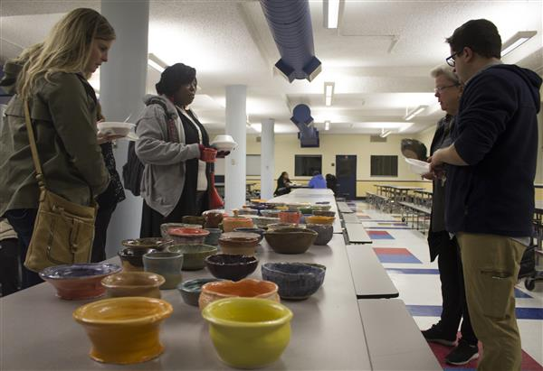 The National Art Honor Society at Meridian High School hosted an Empty Bowls fundraiser on Monday,